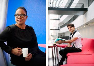 Stockholms universitet: Alice Bah Kuhnke, fd student på SU samt studentporträtt till utbildnngskatalog