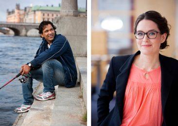 Vänster: Internationell student Stockholms universitet, Höger: Porträtt Hyresgästföreningen